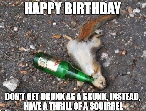 Happy Birthday. Don't get drunk as a skunk, instead, have a thrill of a squirrel.